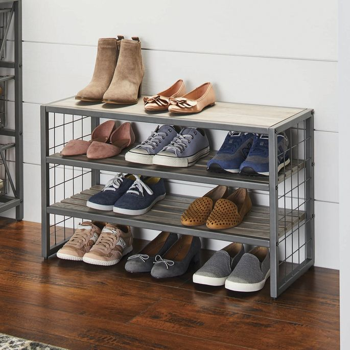 A shoe rack sends a not-so-subtle message to remove your shoes.