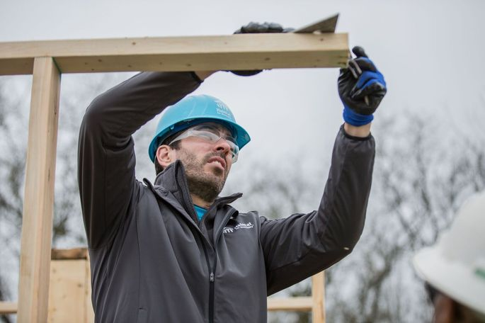 Drew helping with the Nashville Habitat for Humanity build