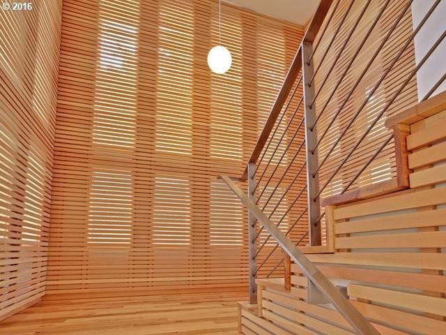 Custom wood and stainless-steel staircase