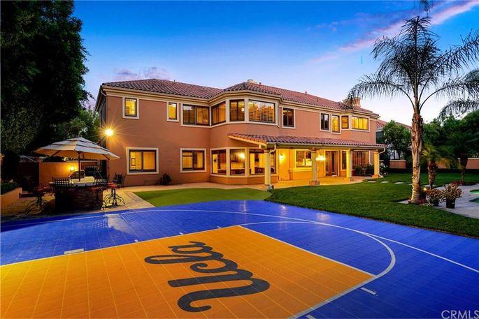 Basketball court with UCLA logo