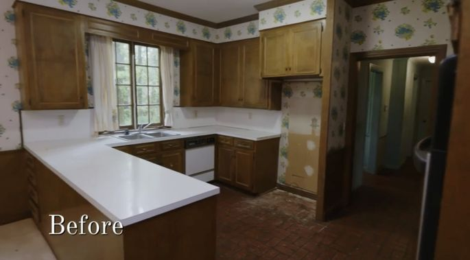 This kitchen was small and dated.