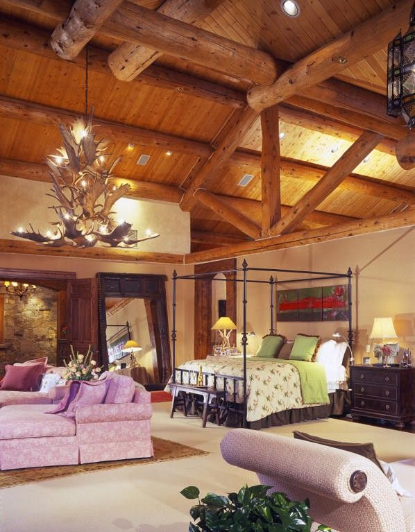 Massive bedroom with a sitting area and cathedral ceiling