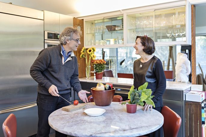 Paul and Carol Bentel in their newly remodeled kitchen. 'Even though we design restaurants, Paul and I cook every night,' Ms. Bentel said.