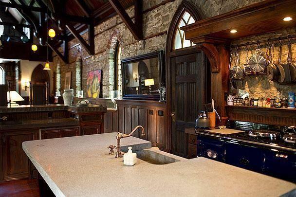 A modernized kitchen lies inside this classic castle.