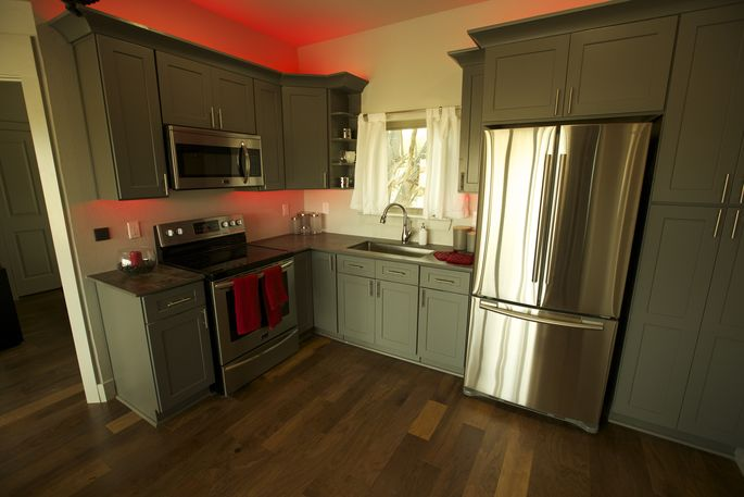 A large kitchen wasn't a huge priority, because the couple don't do much cooking.