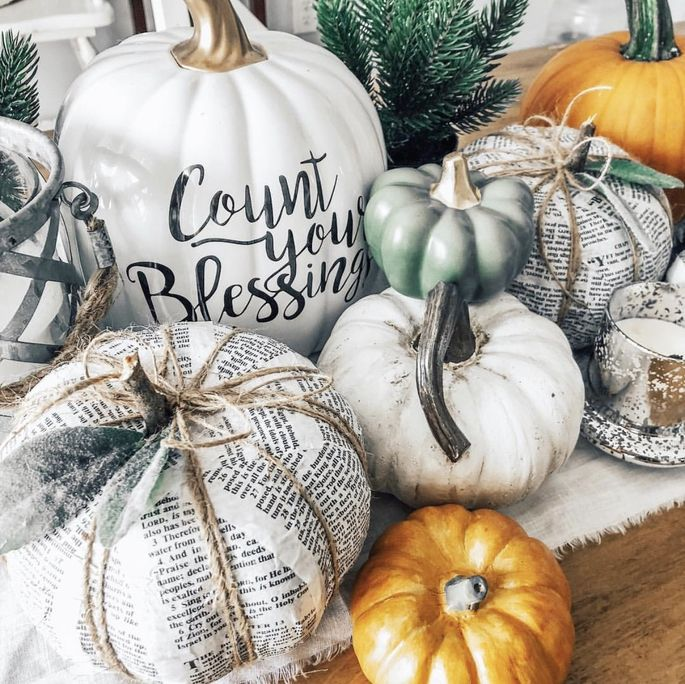 Instead of carving pumpkins, try painting, stenciling, or covering them.