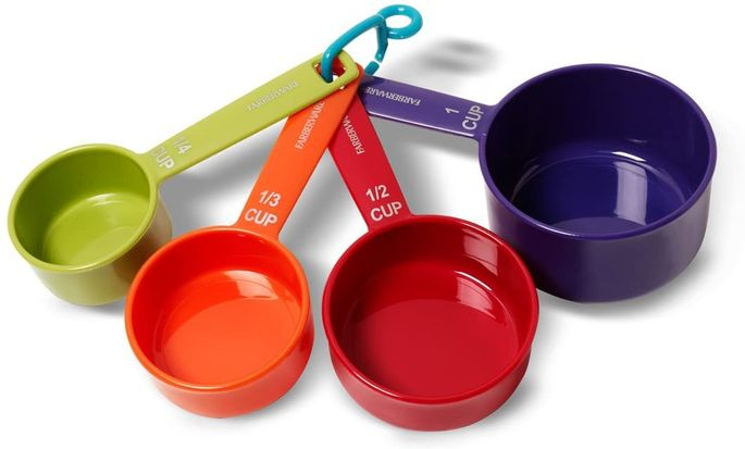 A rainbow of cups is easy to spot in a busy utensil drawer.