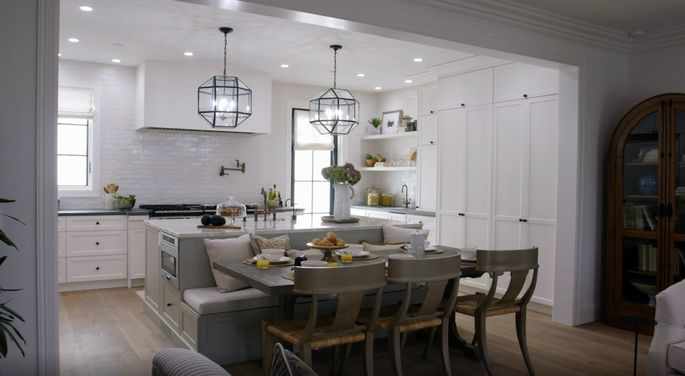Drew Scott's island-table combo looks great in this kitchen.