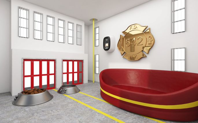 Interior of fire station doghouse
