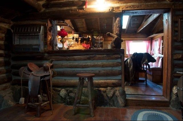 Inside one of the historic cabins