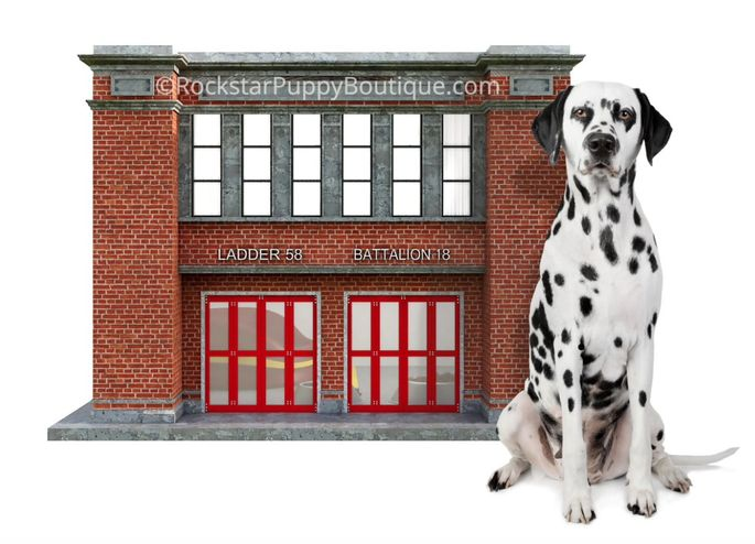 The fire station doghouse was built for supermodel Carol Alt, in memory of her father who was a firefighter.