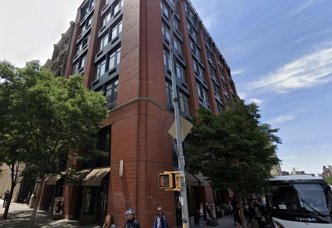 The nine-story brick building where Kanye West had a bachelor pad