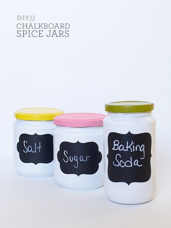 Chalkboard adhesives take your regular spice cabinet to new heights.