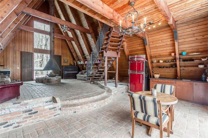 A-frame interior, with ski chalet vibes