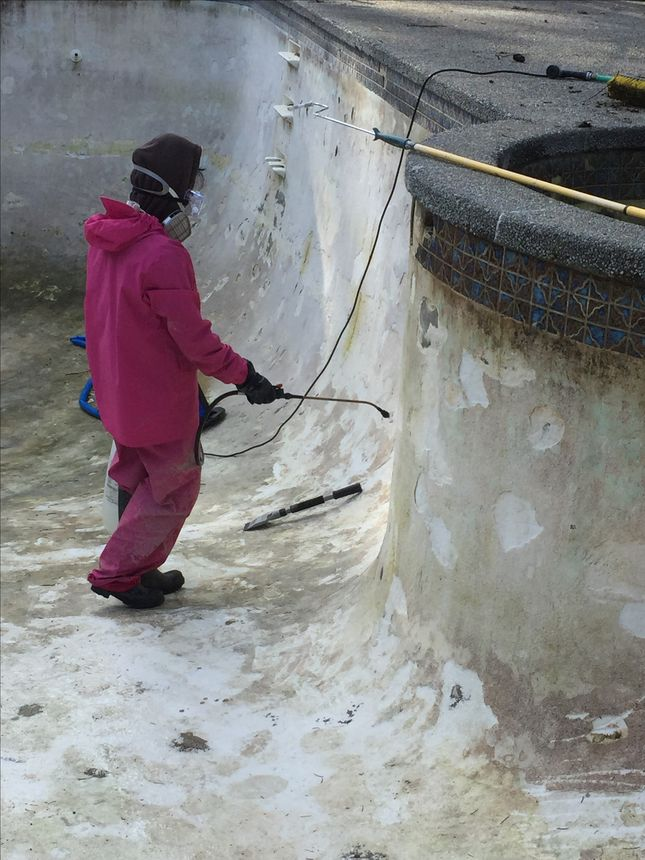 Muriatic acid cleans the pool, but it's nasty stuff.
