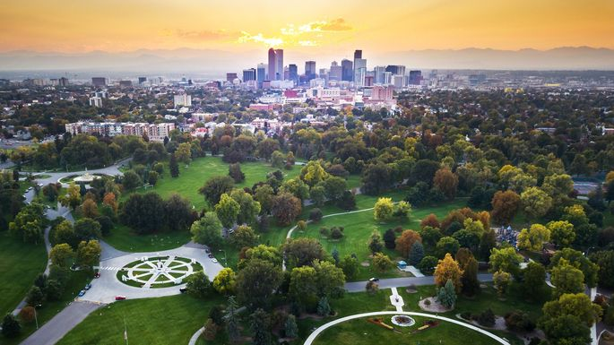 Sunset over Denver cityscape