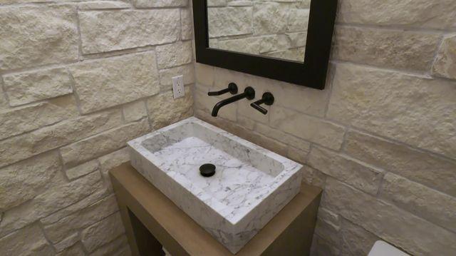 brick bathroom
