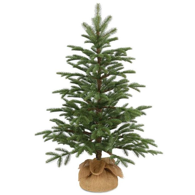 This rustic-looking smaller tree is made from PE plastic, and can be used indoors and outdoors.