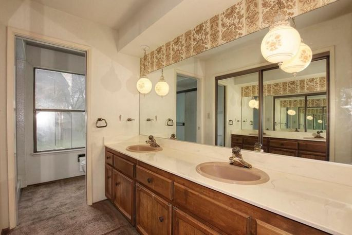 This old bathroom was '70s overkill.