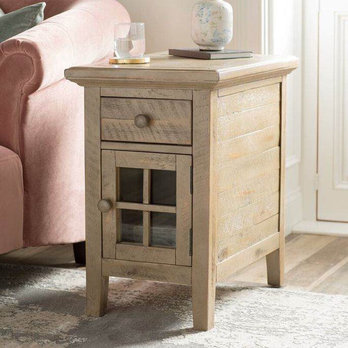 This side table offers vintage charm plus storage.