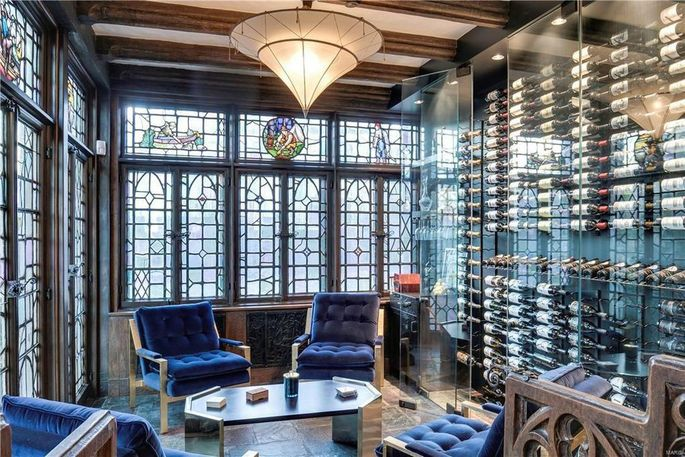 Wine room with stained-glass windows