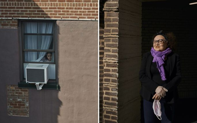 Ysvelia Silva, right, recently closed her leather-importing business due to coronavirus. Kellie Segura looks out the window at the Cosmopolitan Houses, whose buildings span across multiple neighborhoods in Queens.