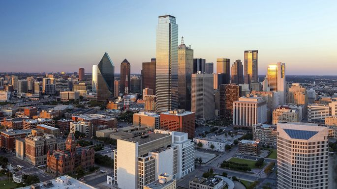 Not JR's Dallas: The modern cityscape at sunset