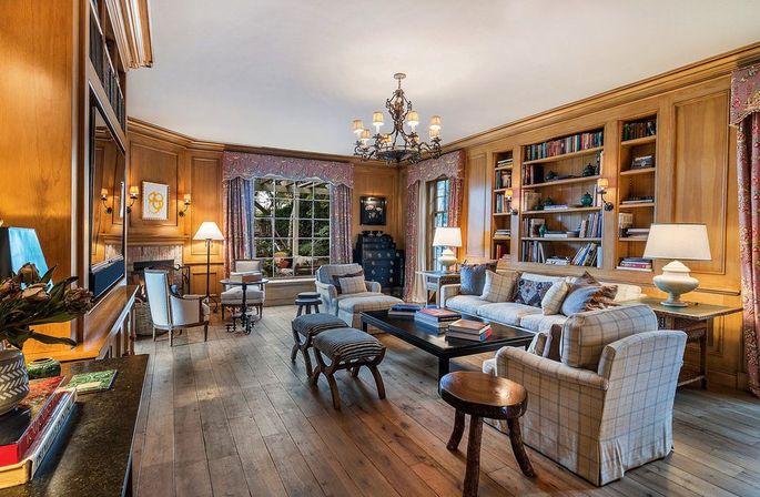 Wood-paneled family room