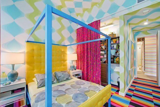 Rainbow-hued bedroom