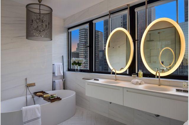 Bathroom with double vanities