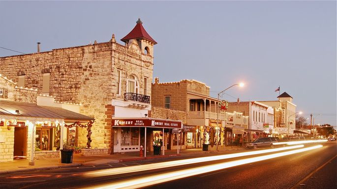"Downtown Fredericksburg, TX, often called ""Fritztown"" because of its German history"