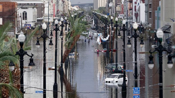 Canal Street flooded a day after Hurricane Katrina hit New Orleans in 2005