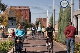 The Cultural Trail in Indianapolis. Credit: www.indyculturaltrail.org Stressed a mix of transportation options