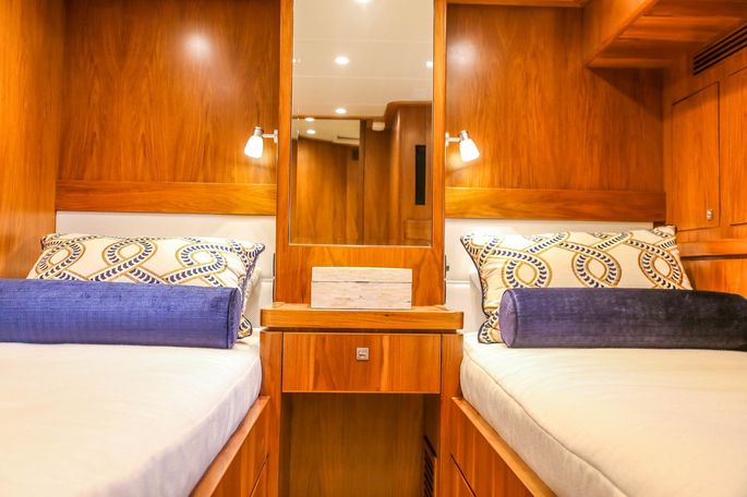 One of the staterooms on the Hubbards' yacht.
