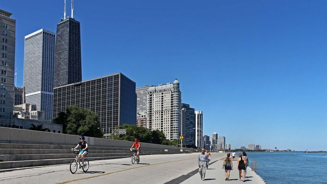 Waterfront biking in Chicago