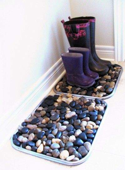 Simple stones make a great boot tray.