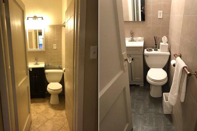 Left: Original flooring Right: Stick-on tiles