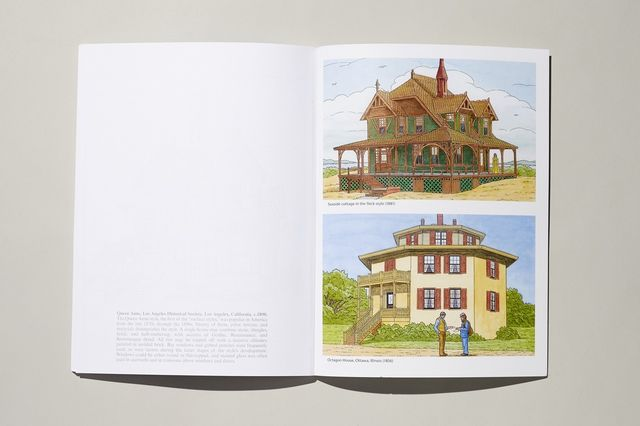 Full-color illustrations in the 'Victorian Houses' architecture coloring book.