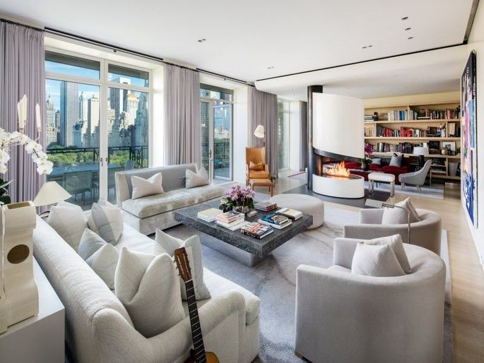 Living room with views of the city skyline