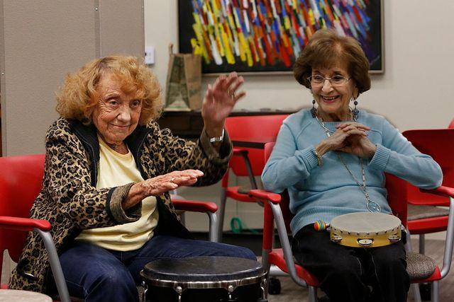 Drum circle class at the NoHo Senior Arts Colony in North Hollywood