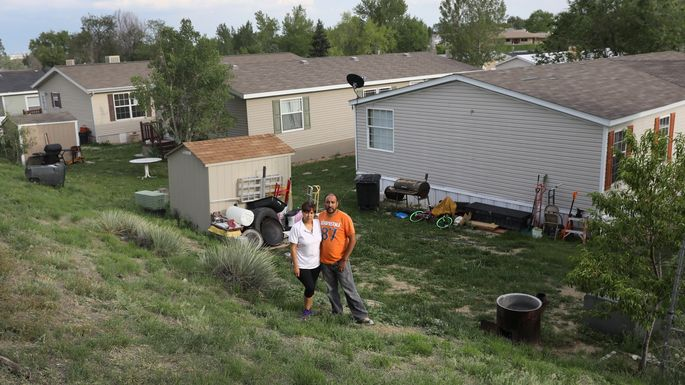 Mexican immigrants outside their family home in Thornton, CO