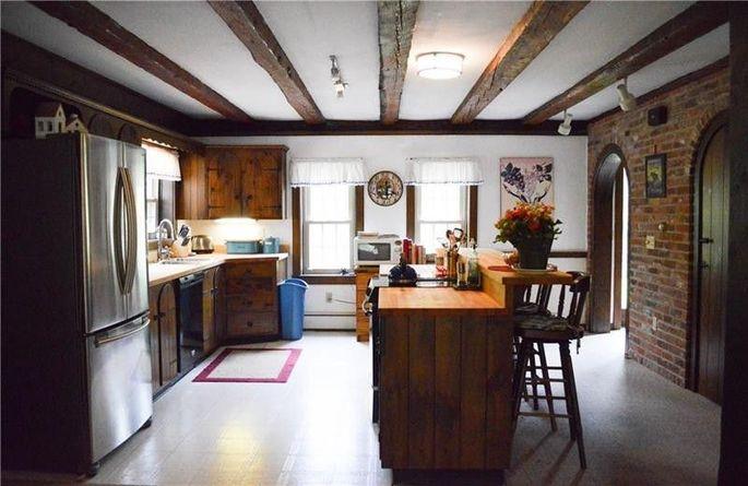 Original beams in the kitchen