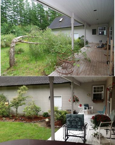 Back porch before and after