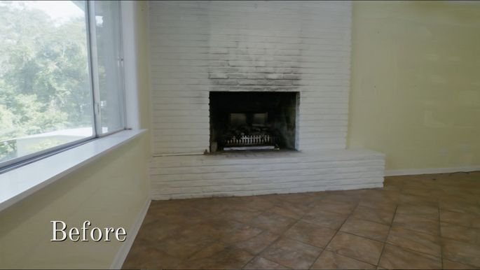 This fireplace was in good shape, but it was dated.