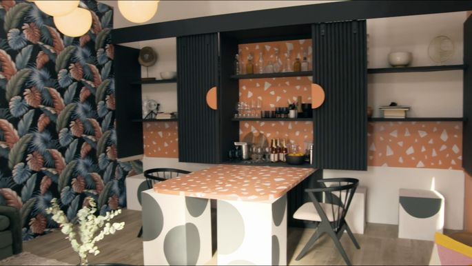 These shelves open up into a bar, and a convenient table folds out.