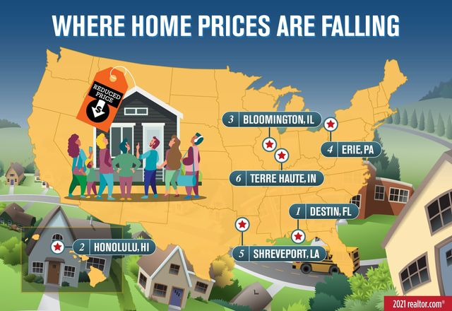 Map: Metros where home prices are falling